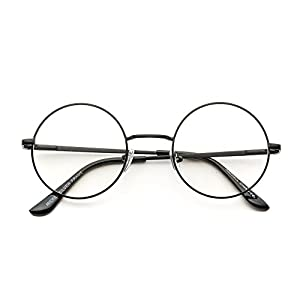 Round Clear Metal Frame Glasses (Black Frame, 49)