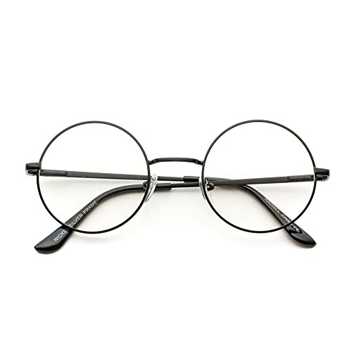 Round Clear Metal Frame Glasses (Black Frame, - Round Eyeglasses