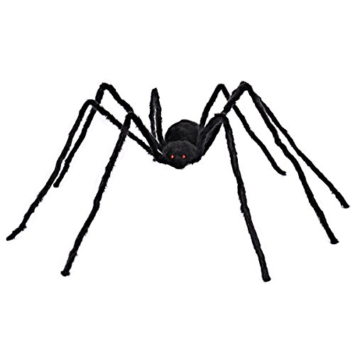 5 ft Huge Realistic Looking Hairy Spider With Red LED Eyes Halloween Outdoor Decoration Props by Spooktacular Creations (Tree Eyes Halloween)