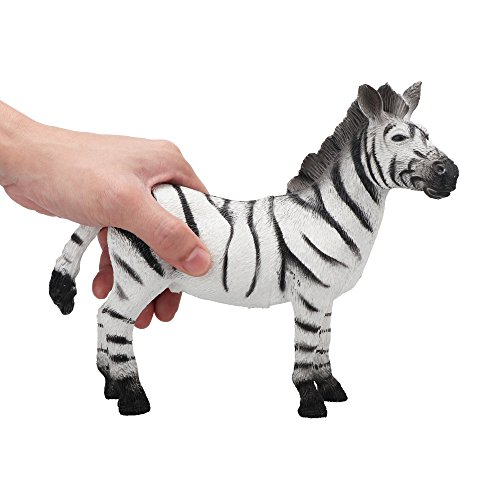Toymany Large Size Male Zebra, 9'' High Realistic Plastic Animal Figure, Awesome Collection Decoration Learning Party Birthday Favors Gift For Boys Girls Children (Male Zebra)