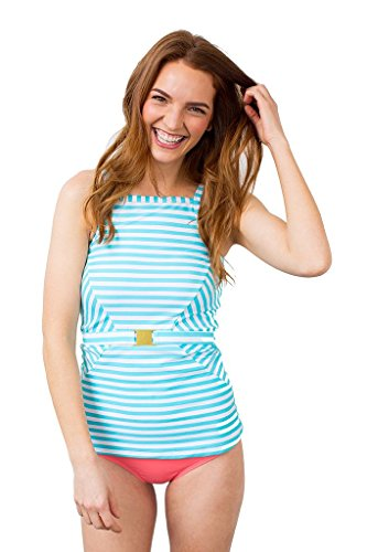 Belted Pool Stripe Tankini Top