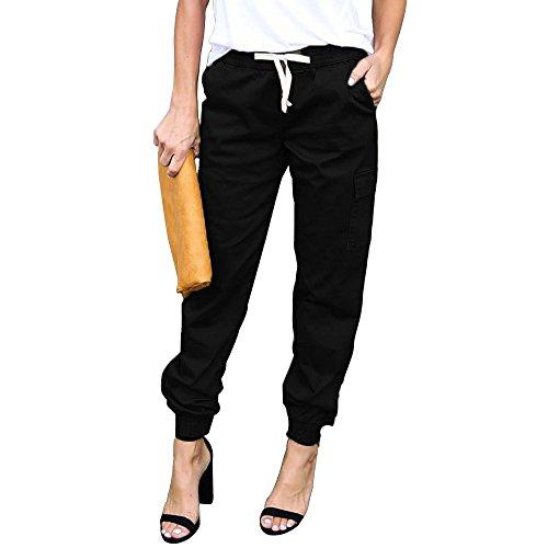 LINGMIN Women's Casual Twill Jogger Pants Drawstring Skinny Cargo Pants with Pockets Black