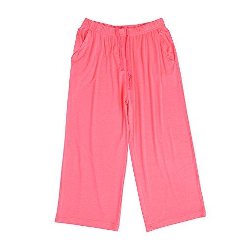 sey Pajama Capri Pants Lounge Casual Sleepwear with Pockets (Cotton Silk Knit Pants)
