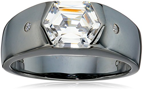 Men's Black Rhodium-Plated Sterling Silver Swarovski Zirconia Round Baguette Hexagon Ring, Size 11