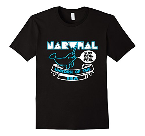 Narwhal Unicorn Costume (Mens Unicorn of the Sea Narwhal T-Shirt XL Black)