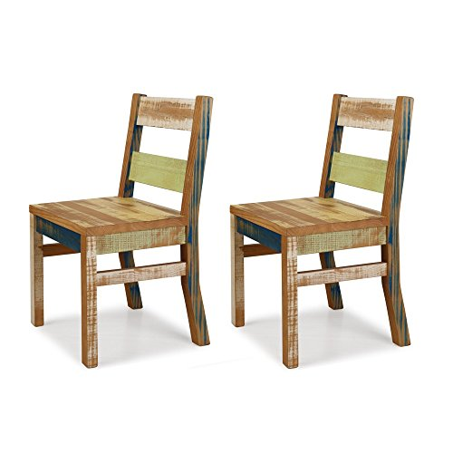 Reclaimed Chair - Set of 2 Solid Wood Distressed Color (Table Wood Dining Reclaimed Look)