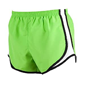 Lime and Black jersey white side stripe sport velocity shorts, Extra Small