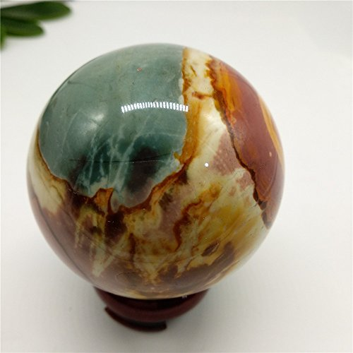 LIXUAN Ocean Jasper Crystal Sphere Polychrome Jasper Sphere Ball Healing Crystal Ball Multicolor Orbicular Orbs Mineral Ball Crystal Polished Stone (60-63mm)