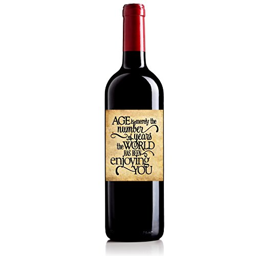 [Personalized Wine Bottle Labels for Birthday Gift Congratulations Age is Merely Merlot 750ml] (Fruit Wine Labels)