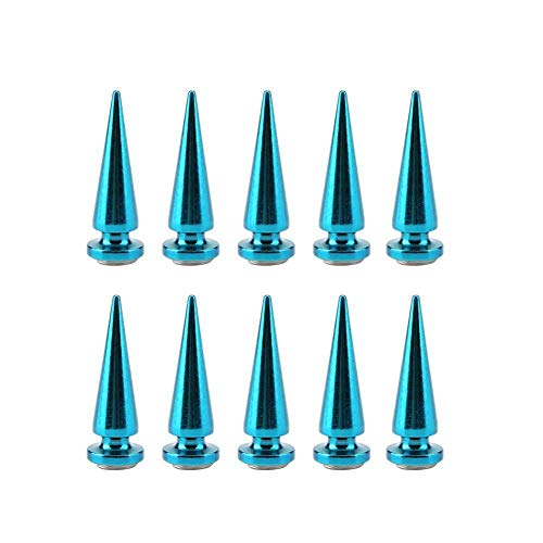 MOPOLIS 10 x Copper Cone Screw Back Spikes Studs For Denim Rock Leather Jacket 10 x 29mm | Color - Blue