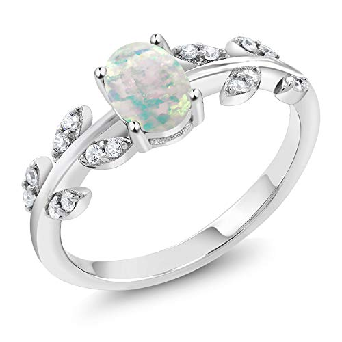 Cabochon Oval Ring 8x6 - Gem Stone King 925 Sterling Silver White Simulated Opal Olive Vine Women's Ring (0.84 Cttw Oval Cabochon Cut Available 5,6,7,8,9) (Size 9)