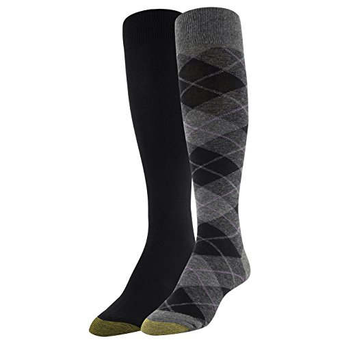 Gold Toe Women's Winter Plaid and Flat Knit Knee Highs, 2 Pairs, Charcoal/Black, Shoe Size: 6-9 by Gold Toe