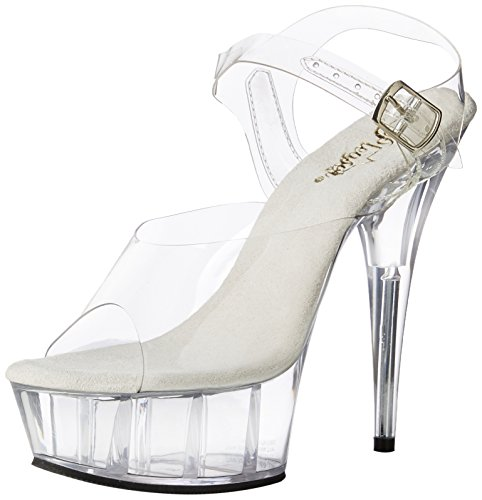 Pleaser Womens Delight-608 / C / Sch Sandalo Platform Clear / Clear