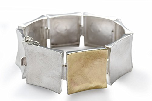Matte Finish Link - Square two tone bracelet, brush finish Bracelet, Wide chain bracelet, large link bracelet, Classic bracelet,Matte silver bracelet, everyday bracelet