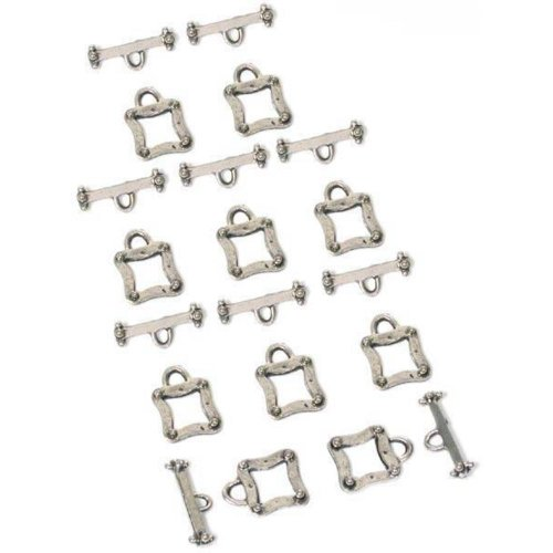 10 Bali Bead Antique Silver Square Toggle Clasps ()