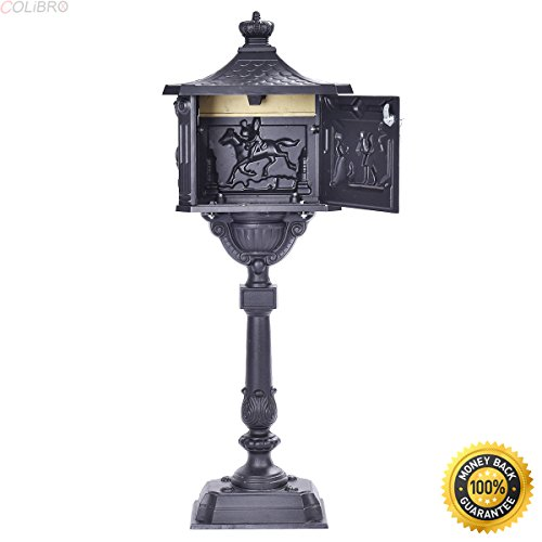 Classic Pedestal Mailbox Package (COLIBROX--Mail Box Heavy Duty Mailbox Postal Box Security Cast Aluminum Vertical Pedestal,lockable post mount mailbox,best locking mailbox ,mail boss package master commercial locking mailbox)