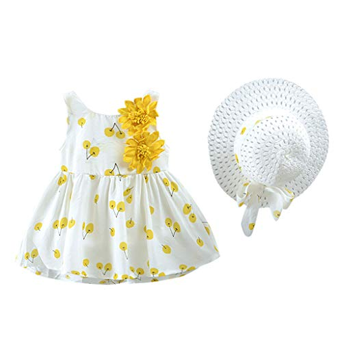 Cuff Flutter (Infant Baby Girl Floral Dress Ruffle Skirts Flutter Sve Summer Outfits Toddler Dress+Hat Clothes 12M-4Y Yellow)