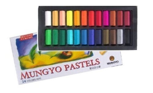 Non Toxic Soft Pastel Set of 24 Assorted Colors Square Chalk by Mungyo Pastel 24