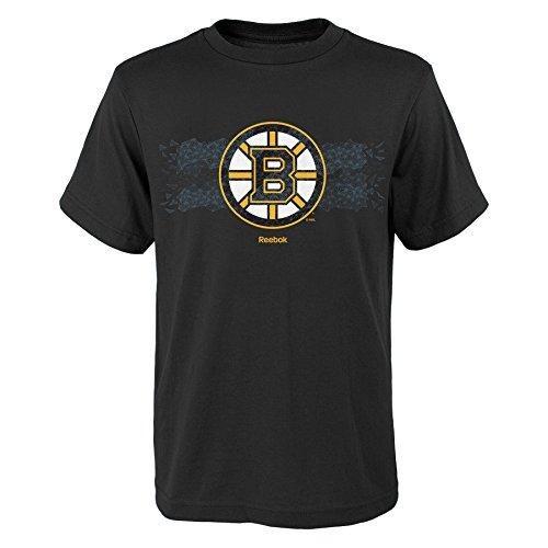 NHL Boston Bruins manga corta de camuflaje Fractal niño, grande/(14–16), color negro