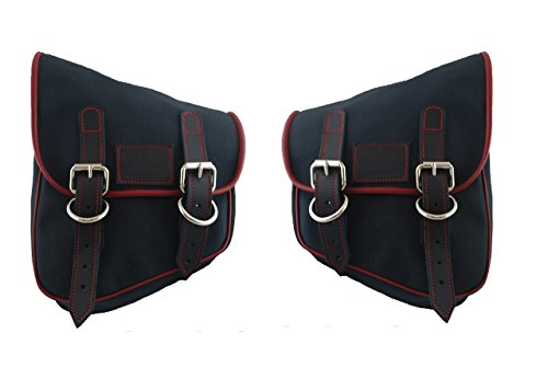 La Rosa Design Harley-Davidson All Softail and Rigid Frames Eliminator Canvas Left&Right Saddle Bag - Black with Red Stitching