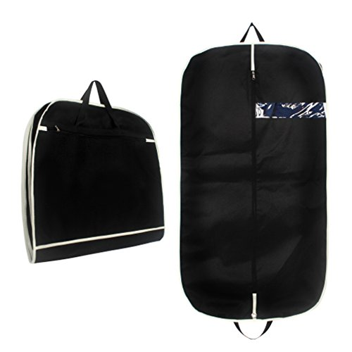 Cavetee Breathable Thick Suit/Dress Black Garment Bag with Zipper Clear Window Pocket/Collapsible Garment Bag (45in) by Cavetee