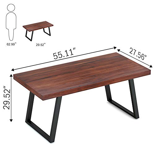 Tribesigns 55'' Rustic Solid Wood Computer Desk with Reclaimed Look, Vintage Industrial Home Office Desk Features Heavy-Duty Metal Base Works As Writing Desk or Study Table (Cherry) by Tribesigns (Image #6)