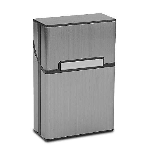 MAGIKON Lightweight Aluminium Alloy Cigarette Case for Man, Cigarette Cigar Protective Cover Box (20 Cigarettes, Grey)