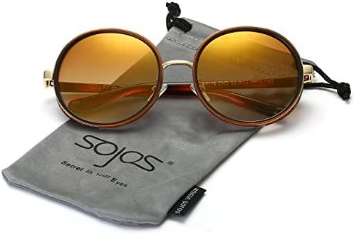 SojoS Retro Gothic Steampunk Round Mirrored Blingbling Classsic Women Sunglasses SJ2022