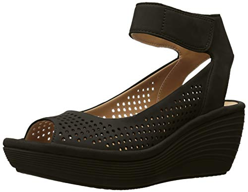 Clarks Women's Reedly Salene Wedge Sandal, Black Nubuck, 6 M US