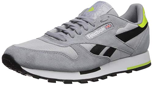 (Reebok Men's Classic Leather Sneaker, Cold Grey/Cool Shadow/White/Black/neon Lime, 9 M US)