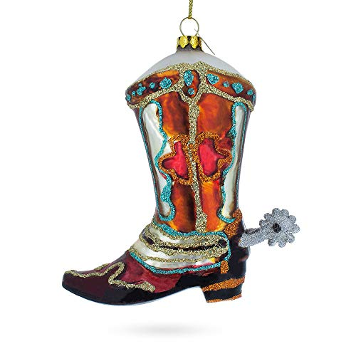 - BestPysanky Cowboy Boot Blown Glass Christmas Ornament