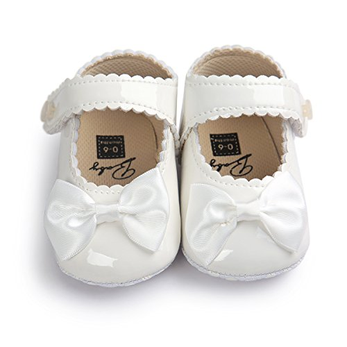 Sabe Infant Baby Girls Soft Sole Prewalker Crib Mary Jane Shoes Princess Light Shoes (6-12 Months Infant, White)