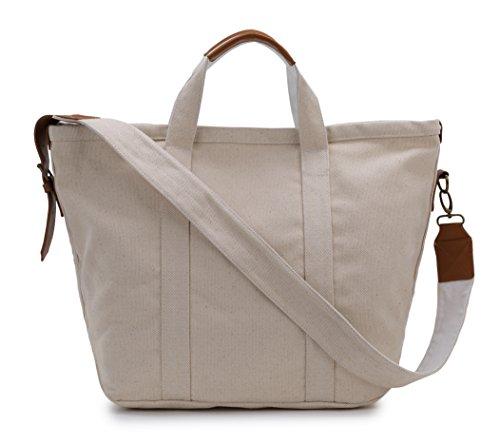 Karitco Plain Canvas Messenger Tote Handbag With Leather Parts (large Original Beige) Yb085
