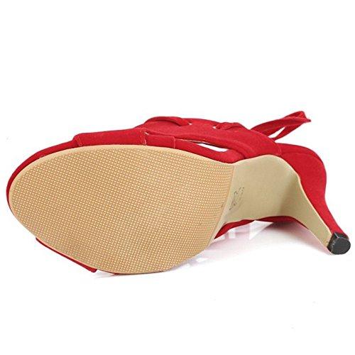 Toe Red Women TAOFFEN Sandals Stiletto Peep Iqwn4FXBx