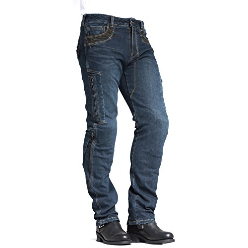 (MAXLER JEAN Biker Jeans for men Motorcycle Motorbike riding Jeans 002 Blue 30)