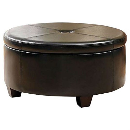 Round storage ottoman constructed from leather with button t