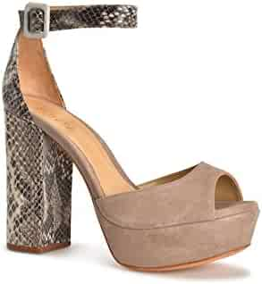 fe6c1a5b37 SCHUTZ Avon Nude Taupe Natural Snake Suede Peep Toe Thick Heel Retro Pump  Sandal