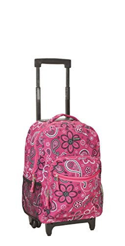 Rockland Luggage 17 Inch Rolling Backpack, Bandana, Medium (Kids Carry On Wheels Luggage With)