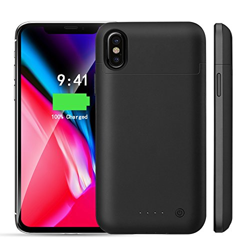Idealforce Iphone X Battery Case,5200mAh Rechargeable External Battery,Portable Power Charger Protective Charging Case for Iphone X/Iphone 10(5.8inch) Support Lightning Earphones/Audio (Black)