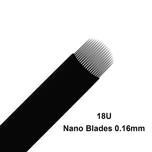 20pcs Microblading needles 18U NANO 0.16mm Blade Semi Permanent Makeup Eyebrow Tattoo Needles for Microblading Eyebrow Tattoo Manual Pen (18U-20pcs)