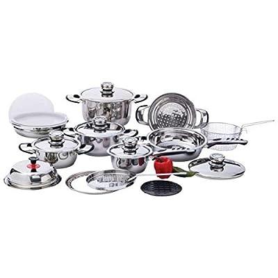 Chefs Secret 22pc 12-element Heavy-duty Stainless Steel Cookware Set- Element Ss Cookware St by Maxam