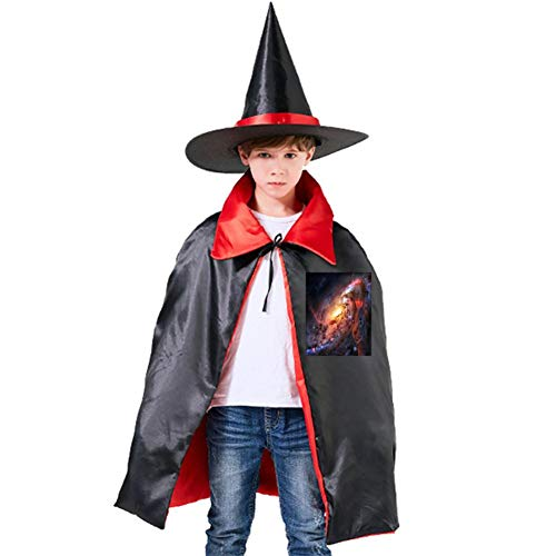 Cats in The Sky Halloween Shawl and Witch Hat for Children Kids Red]()