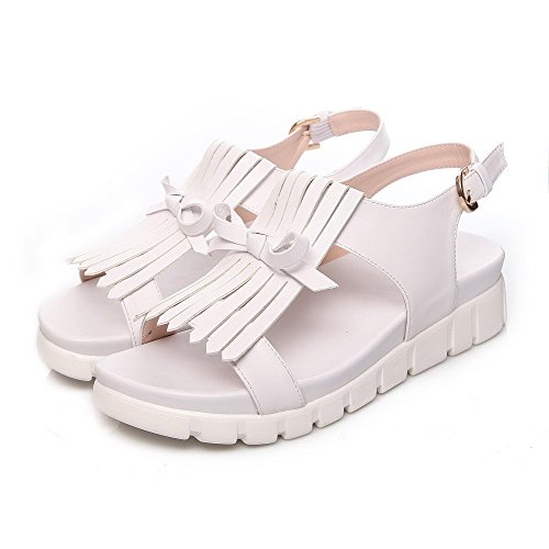 AllhqFashion Womens Open Toe Low Heels Solid Buckle Sandals White dhTl0