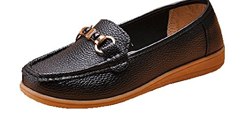 perfectaz-women-comfortable-buckle-decorated-slip-on-ruched-rubber-sole-flat-walking-loafers85-bm-us