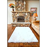 Fur Accents White Faux Sheepskin Area Rug / Ultra Suede Back / 4x5 Rectangle