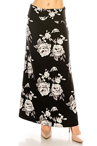 EEVEE Printed Foldover Waistband Fashionable Maxi Skirt Dress (Gray Roses, One Size)