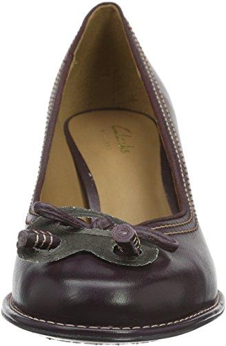 Con Bombay Viola aubergine Scarpe Lights Clarks Tacco Donna Leather UWattRwq