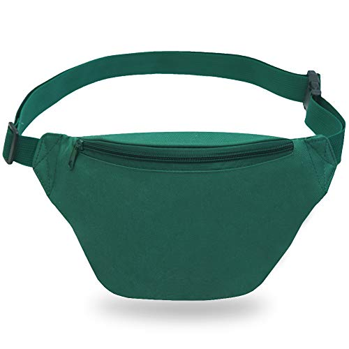 Zip Running Fanny Pack for Women and Men,Canvas Waist Pouch Bag with Adjustable Strap for Outdoors Workout Running,Hiking,Traveling,Biking,Rave and Festival (Hunter Green)