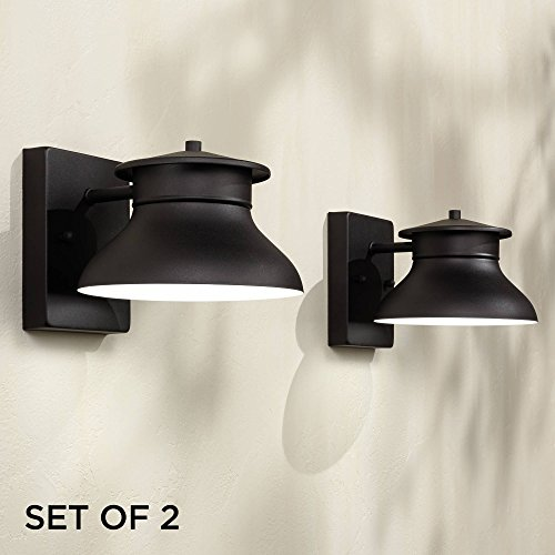 (Danbury Modern Outdoor Wall Light Fixtures Set of 2 LED Black 5