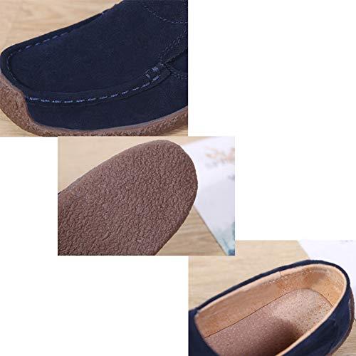 Camminata Blu Piatto Scamosciata Mocassini Huatime Lavoro Guida Barca Donna Casual Pelle Da Scarpe Outdoor Pantofole f6wTq7